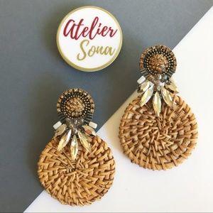 Rhinestone Studded Rattan Straw Earrings